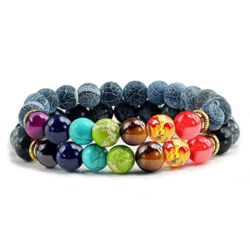 RQQDSZ 2 Pcs/Set Classic Natural Stone Weathering Elasticity Bead Strand Bracelets Healing Beads Buddha Prayer Yoga 7 Chakra Men 7 Strand Coated Chain