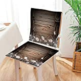 Antique Wooden Folding Deck Chairs Mikihome Seat Set Cushion Antique Old Planks American Style Western Rustic Wooden and White Daisies, Grass and Butterflies 2 Piece Classic Decorative Chair pad Mat:W17 x H17/Backrest:W17 x H36
