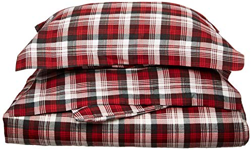 - Woolrich Tasha Duvet Cover Full/Queen Size - Red, Plaid Duvet Cover Set – 3 Piece – Cotton Flannel Light Weight Bed Comforter Covers