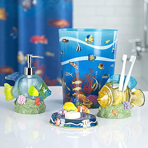 Allure Home Creations Under The Sea 4-Piece Bathroom Accessory Set- 1 Lotion Pump, 1 Toothbrush Holder, 1 Soap Dish and 1 - Bathroom Fish Decor