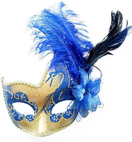 Feather Masquerade Mask Halloween Mardi Gras Cosplay Costumes Venetian Mask Party Mask (Royal Blue)