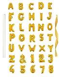 "16"" Single Gold Alphabet Letter Balloons Aluminum Hanging Foil Film Balloon Mylar balloons Air Balloon CANNOT FLOAT(16"",Number 1)"
