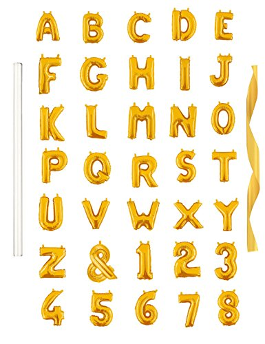 16 Single Gold Alphabet Letter Balloons Aluminum Hanging Foil Film Balloon Mylar balloons Air Balloon CANNOT FLOAT(16,Letter Y)