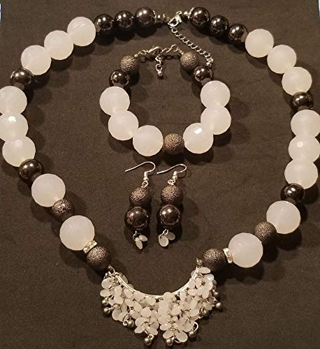 - Black Opaque White Lucite Teardrop Tassels Pendant Multifaceted Beads Necklace Earring Set