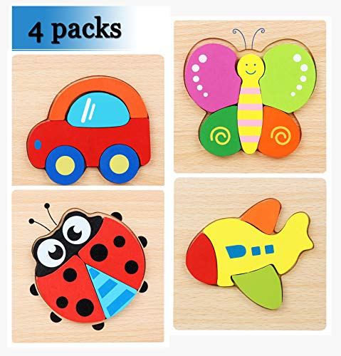 Wooden Jigsaw Puzzles, 4 Pack-Include Airplane, car, Butterfly, Ladybug,Wooden Educational Toys,Free Drawstring Bag and Picture Card Gift for Toddlers