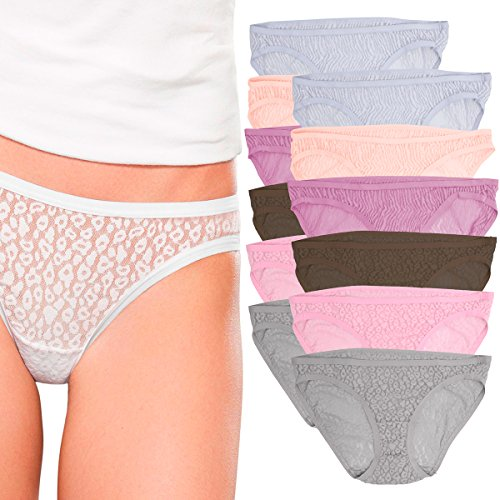 Light Blue Stretch Lace Panty - Fruit of the Loom (12 Pack Lace Bikini Panties for Women Underwear No Panty Line Stretch Panties