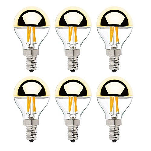 Globe Half Mirror - Century Light G45 4W Vintage LED Filament Light Bulb , Half Gold Mirror Top Light Bulb , Energy Saving Warm White 2700K, E12 Candelabra Base, 40 Watt Equivalen ,Dimmable,6Pack