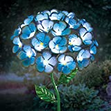 Exhart Hydrangea Garden, 26 LED Lights, Solar Powered, Metal, Turquoise, 7''L x 7''W x 21''H