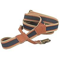Lawevan Women and Men's Trouser Braces Supenders Blue and White Fringe Pattern Cattlehide Leather Braces