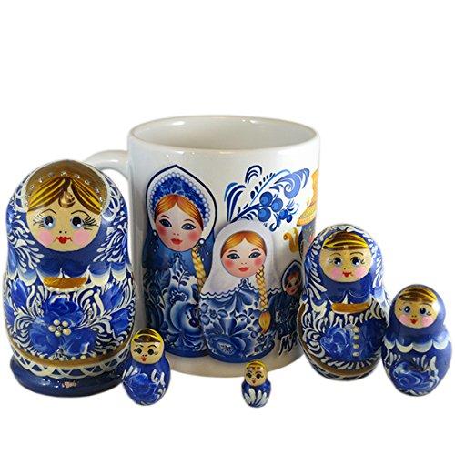 - Set of 5 Piece Russian Nesting Doll Matryoshka Wood Nested Stacking Dolls with Ceramic Coffee Mug (Gzhel)