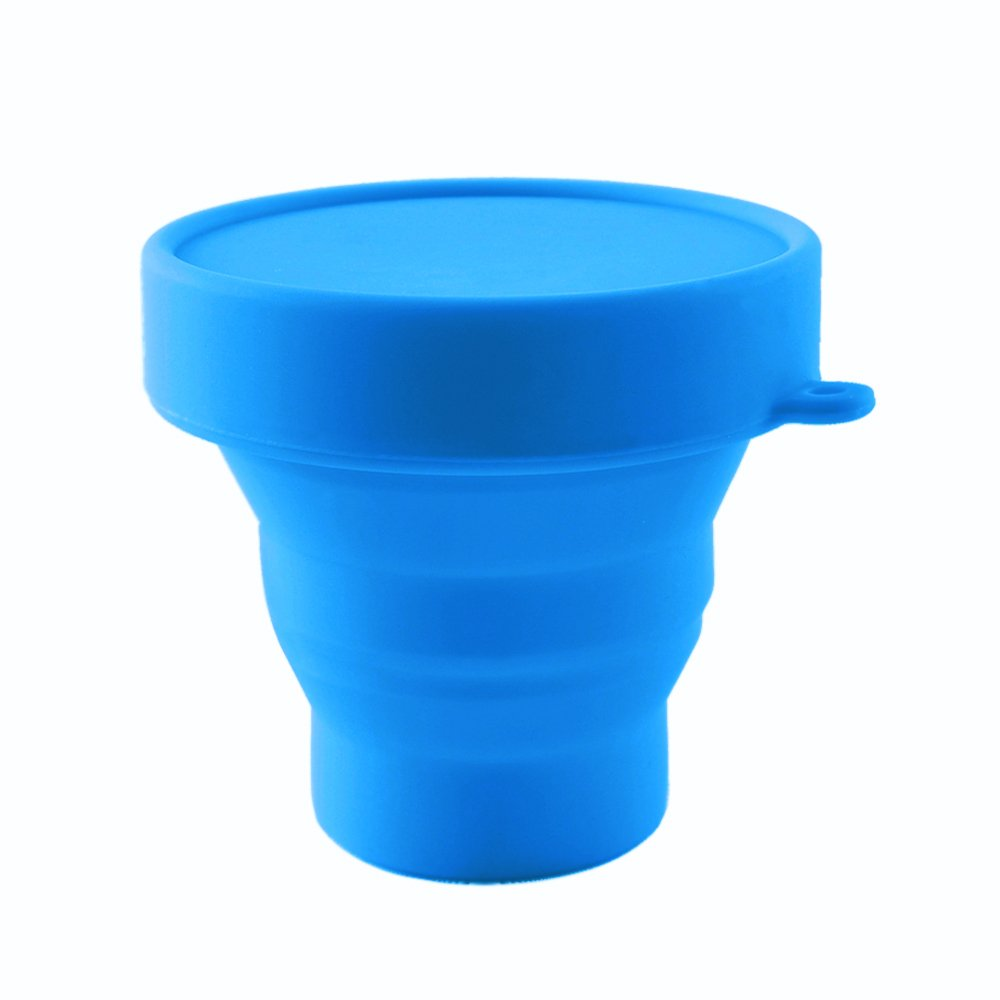 Collapsible Silicone Menstrual Cup Holder Reusable Sterilizing Cup Designed for Sanitation and Storing Evacup Menstrual Cup for Moon Cup(Blue)