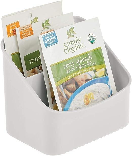 Caja organizadora para guardar sopas en sobre crema mezclas de especias y m/ás mDesign Organizador de cocina Estante especiero de pl/ástico con dos compartimentos para armario y encimera
