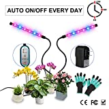 Grow Light, Grow Lights for Indoor Plant, Melophy Plant Grow Lamp LED Spectrum Bulbs with Timer Auto ON Off 24W Dual Head, 8 Dimmable Levels, 4/8/12H Timing Adjustable Gooseneck with 1 Pair Gloves