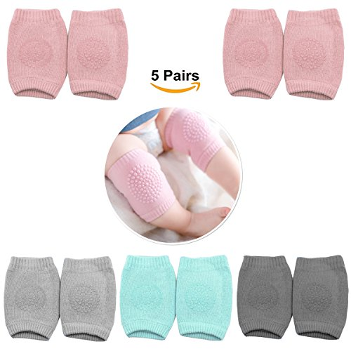 Baby Knee Pads for Crawling with Anti-Slip Grip - 5 Pairs - Boys & Girls Color Options - by MJsmile (Baby Girl) by MJsmile (Image #1)