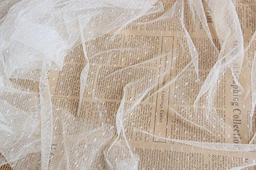 (Pukido Off White Tulle Fabric, mesh Fabric with dots, Embroidered Tulle lace, Dotted lace Fabric for Tutu Dress, Bridal lace Fabric - (Color: Peach)
