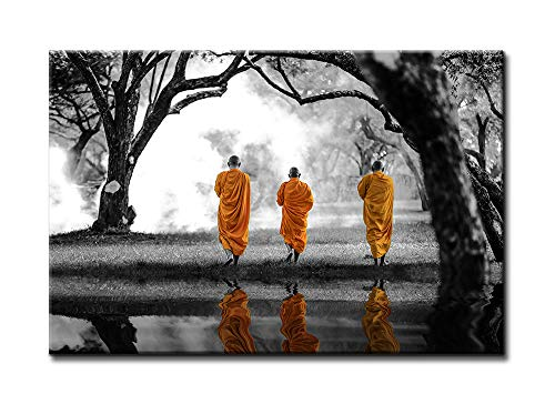 DJSYLIFE-Black & White Zen Painting Artwork Wall Decor Buddhism Posters Canvas Wall Art, 3 Monks in Yellow Robes are Walking in The Forest and Their Reflection,Zen Office Yoga Massage Meditation Room