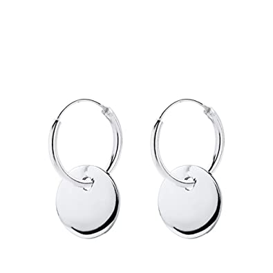 1757b0f49744 Pendientes aros niña mujer chapa redonda 10 mm plata de ley 925 aros 12 mm  grosor 1