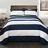 Lush Decor 16T000415 Stripe 2Piece Quilt Set, Twin, Navy/White