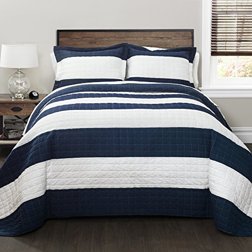 Lush Decor New Berlin Quilt Striped Pattern 2 Piece Bedding Set Twin Navy and White