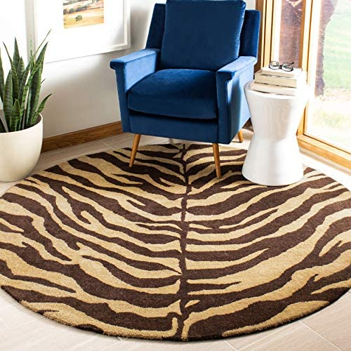 Safavieh Bergama Collection BRG194A Handmade Beige and Brown Premium Wool Round Area Rug 6' Diameter