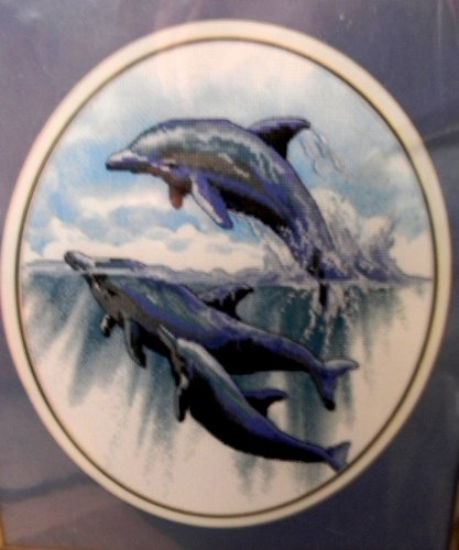 - Dimensions Leaping for Joy Dolphins No Count Cross Stitch Kit 10