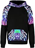 ABCHIC Women's/Big Girls' Sweatshirt Hoodies with Hood Pullover Crewneck Long Sleeve Black One Size Fit for Over 14 Years Old