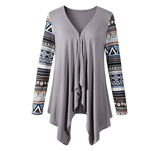 Generic Women's Printed Ruffled Casual Unsymmetrical Long Sleeves Loose Cardigan - Fine Cashmere Yarn