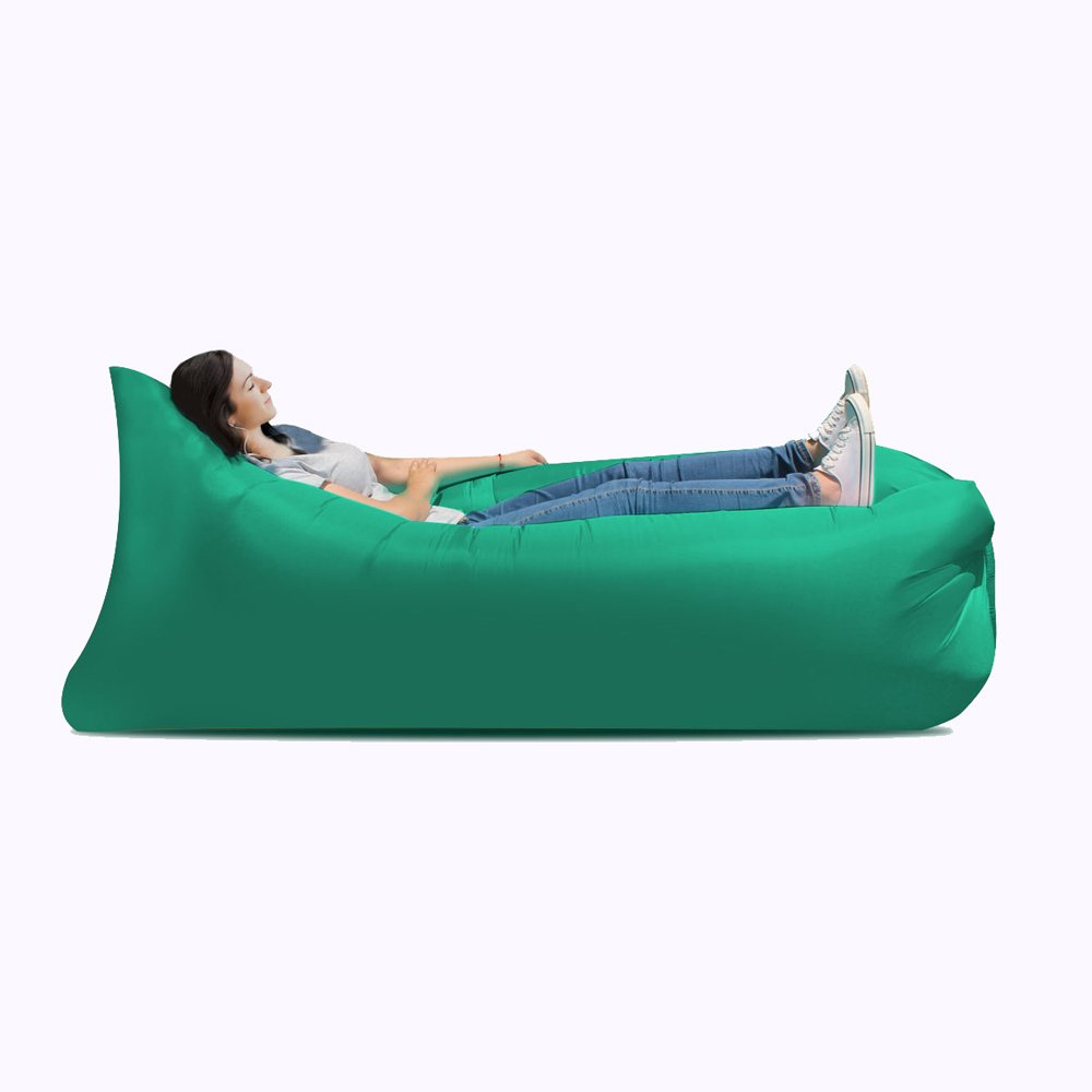 Ideal inflatable sofa, camping, portable waterproof leakproof sofa bed - perfect air chair for pool and beach party ( Color : Green ) by JYKJ