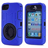 Iphone 4 Case,Iphone 4S Case,Lantier 3 in 1 Hard Rubber + PC Hybrid Combo Rugged with Finger Ring Kickstand Protect Cover for Apple Iphone 4/4S Blue