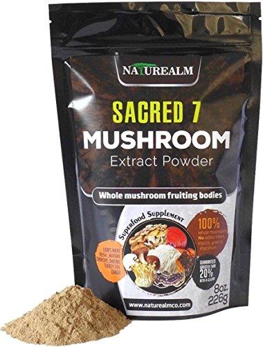 - SACRED 7 Organic Mushroom Extract Powder - Reishi, Maitake, Cordyceps, Shiitake, Lion's Mane, Turkey Tail, Chaga - 226g - Supplement - Add to Coffee/Shakes/Smoothies (Original)