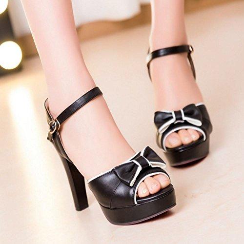 Sandales Chaussures Sangle Plate de Forme TAOFFEN Femmes Cheville Chunky Black qgvxFw