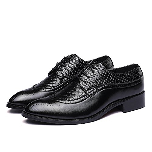 WULFUL Men's Leather Dress Oxfords Shoes Business Retro Gentleman Black 7.5-8 D(M) US by WULFUL