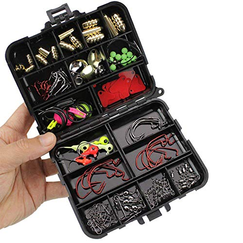 Oak-Pine 128Pcs/Set Fishing Accessories Set Carp Catfish Freshwater Saltwater Fishing Tackle Box - Hooks, Swivels, Double Loops, Spinners, Luminous Balls, Leaders, Line Stoppers, Jig Heads, ()