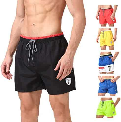 50aea67ce0 Lapulas Mens Boys Swim Trunks Beach Board Shorts Bathing Swimsuits Quick Dry  with Mesh Lining