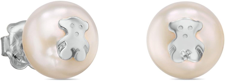 Pendientes TOUS Bear en plata de primera ley y perlas cultivadas, Cierre presión. motifo: 1 cm