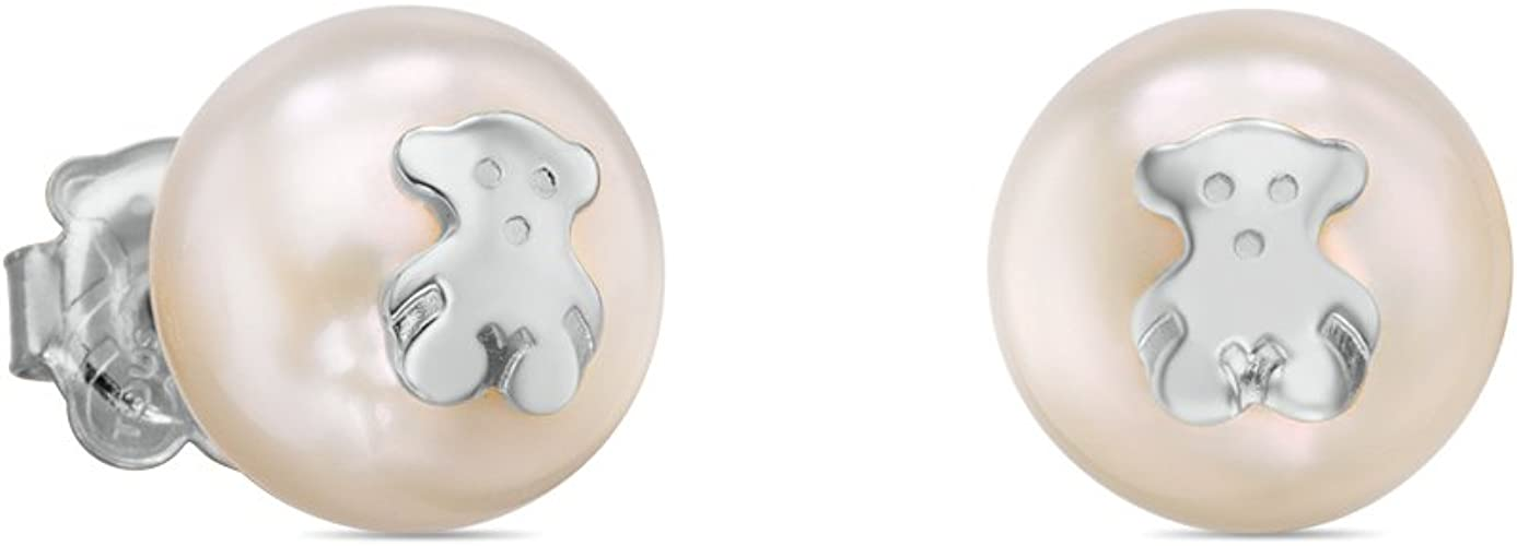 Pendientes TOUS Bear en plata de primera ley y perlas cultivadas, Cierre presión