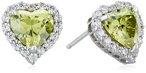 Platinum Plated Sterling Silver Simulated Birthstone Heart Stud Earrings with Swarovski Zirconia Accents Earrings
