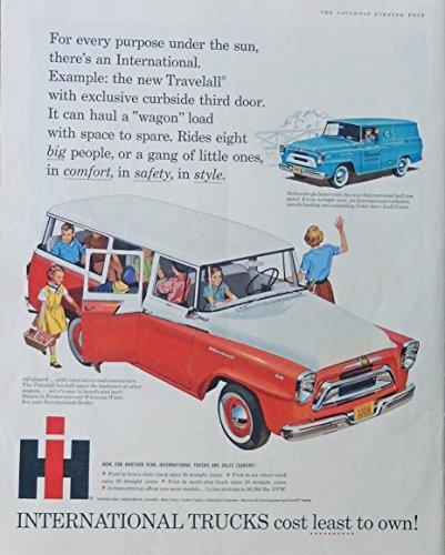 1958 International Trucks (1958 Travelall International Truck 50's Vintage print ad. Color Illustration. Original 1958 The Saturday Evening Post Magazine Art)