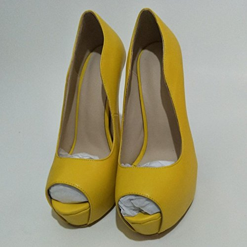 Beautiful Sandals High Size 45 Yellow Shoes Peep 16 Pumps Toe Shoes Heeled Fashion Leather 6 Prom Yellow 34 VIVIOO Cm 14 5 vwfp5Atqnx