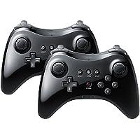 2X QUMOX Manette Contrôleur Joystick de Jeux Double Analogique Sans Fil Game Controleur Gamepad pour Nintendo Wii U NOIR