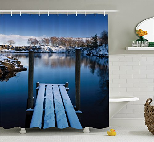 Ambesonne House Decor Collection, Photo of Wooden Deck on the Shore of a Small Lake in Winter Sweden Frozen Northern , Polyester Fabric Bathroom Shower Curtain Set with Hooks, White Blue Brown (Photo Real Sweden)