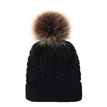 Amazon.com  Fheaven (TM) Newborn baby Boy Girl Winter Soft Knitted Beanie  Hat With Faux Fur Pom Pom (Black)  Beauty da8dea58bf0