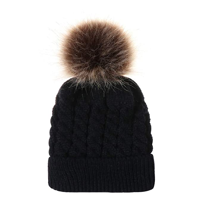 CATSAP Cute Fur Ball Knitted Wool Beanie Pompom Hat for Toddler baby Winter  Warm Cap Photo e67a540b502a
