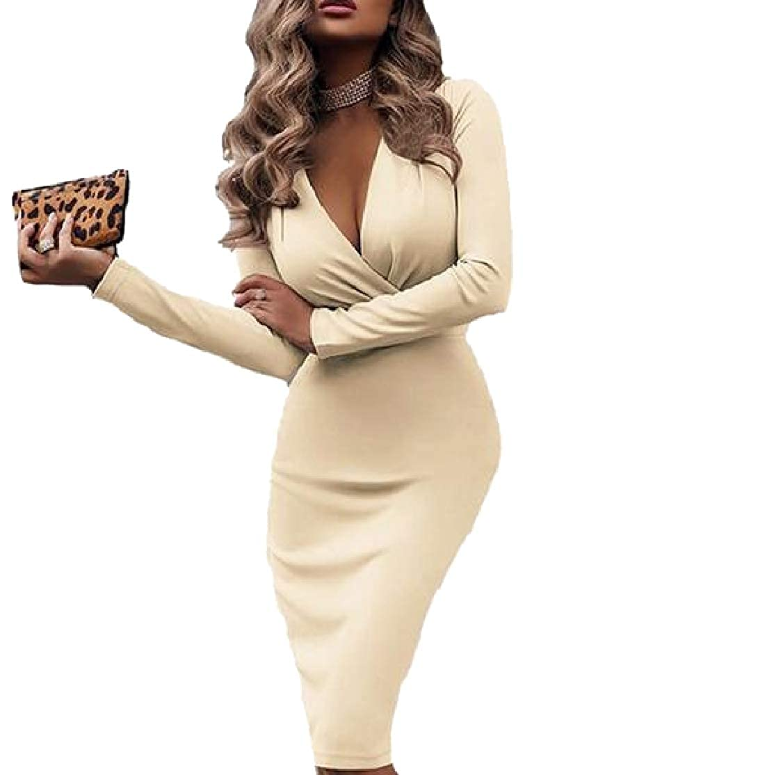 Comaba Womens Bodycon Flounced V-Neck with Belt Skirt Suit