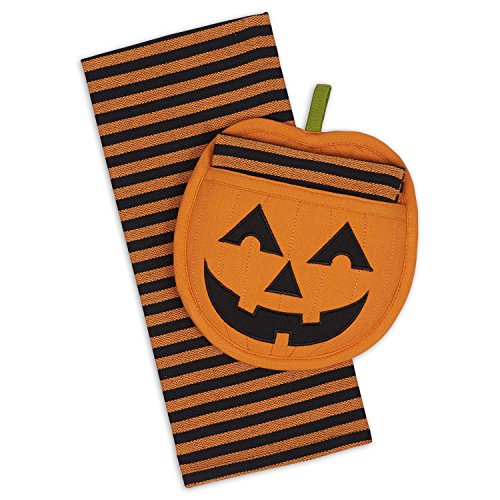 DII Cotton Haloween Holiday Dish Towel and Pot Holder Gift Set, Perfect for     Kitchen Cooking and Baking-Jack O' Lantern for $<!--$9.95-->