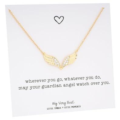 Amazon my very best guardian angel wing necklace gold plated my very best guardian angel wing necklace gold plated brass aloadofball Choice Image