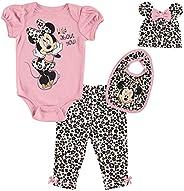 Disney Minnie Mouse Baby Girls 4 Piece Layette Set: Bodysuit Pants Hat Bib