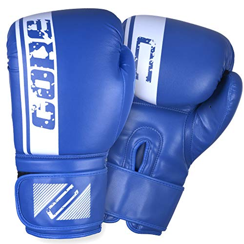 CORE SPORTS Boxing Gloves for Men & Women Training Sparring Kickboxing Leather UFC MMA Muay Thai Pro Punching Fight Heavy Bag Mitts (Blue, 10oz)