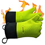 UNIQME BBQ Gloves Silicone Oven Mitts For Men Women, Heat Resistant Silicone Gloves For Cooking, Grilling, BBQ, Baking, Waterproof Insulated Kitchen Cooking Gloves Green