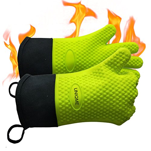 UNIQME Grilling Gloves Silicone Oven Mitts For Men Women, Heat Resistant Silicone Gloves For Cooking, Grilling, BBQ, Baking, Waterproof Insulated Kitchen Gloves Green - Barbecue Ribs Smoker